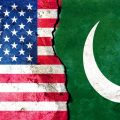 The U.S. flag juxtaposed against Pakistan's flag.