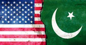 The U.S. flag juxtaposed against Pakistan's flag.