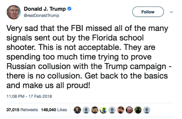 Then it's time for Trump to shift blame for the Parkland shooting to the FBI.