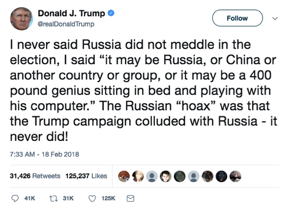 "Then it's ""I never said Russia was a hoax"""