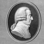 A black-and-white portrait of Adam Smith, an economic theorist.