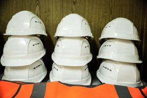 A photo of construction worker helmets.