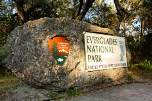 National Park Service sign for Everglades National Park.