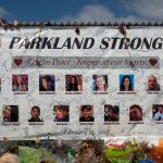 A memorial for those who were killed in the Parkland shooting.