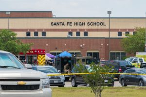 A photo of Santa Fe High School, where a mass shooting took place.