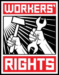 "An animated poster of someone holding a hammer and someone else holding a wrench. The poster is labeled ""workers' rights."""
