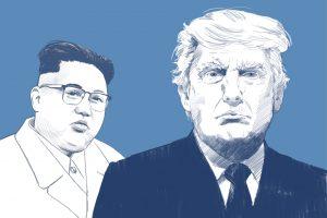 An illustration of President Trump pictured alongside Kim Jong-Un.