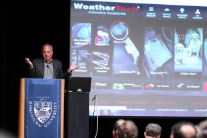 A photo of David MacNeil, founder and CEO of Weathertech, at Dominican University's C-Suite Series on Nov. 18, 2014.