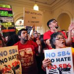 Austin, Texas, USA - May 29, 2017: Demonstrators protest SB 4, an anti-Sanctuary Cities immigration law, under the dome of the state Capitol. Attribution: Vic Hinterlang / Shutterstock