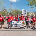The Democratic Socialists of America march in the 2018 Minneapolis May Day parade.