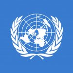 United Nations logo on blue background.
