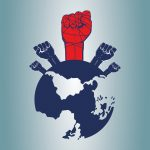 A map of the world with fists raised over it, signifying human rights.