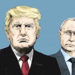 An illustration of President Trump and President Putin.