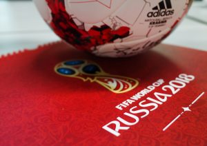 The official ball of the 2018 FIFA World Cup Adidas Krasava and a calendar with the symbols of the World Cup 2018.