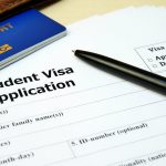 A photo of a student visa application form.