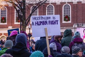 Protesters at a Save Health Care Rally in Boston.