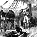 An illustration of African-American slaves on a ship.