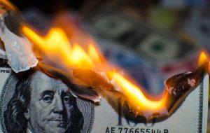 American money being burned.