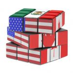A Rubik's cube that features the American, Mexican, and Canadian flags.