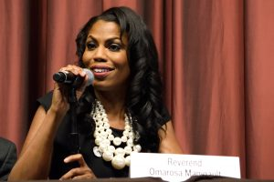 A photo of Omarosa Manigault-Newman speaking at the National Action Network 25th Annual Convention.