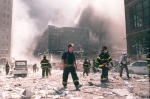 A photo taken on September 11, 2001, that shows New York City firefighters working near the area known as Ground Zero after the collapse of the Twin Towers.