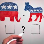 A whiteboard illustration of an elephant and a donkey, signifying the Republican Party and the Democratic Party.