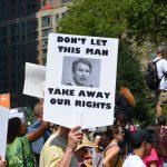 Protesters hold a demonstration against SCOTUS nominee Brett Kavanaugh.