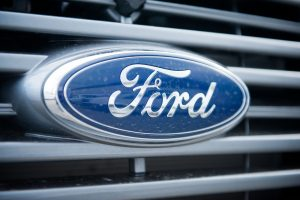 Ford emblem on the front a vehicle.