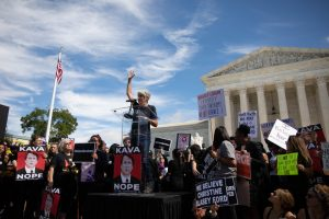 Kavanaugh protesters gather outside the Supreme Court.