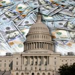 U.S. Capitol Building shown against a backdrop of money.