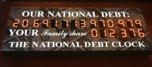 The National Debt Clock in Manhattan, New York. The clock shows gross national debt and each family's share of that debt.
