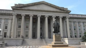 A photo of the U.S. Treasury Department building.