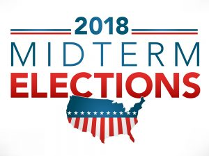 "A map of the U.S. with the words ""2018 Midterm Elections"" written above it."